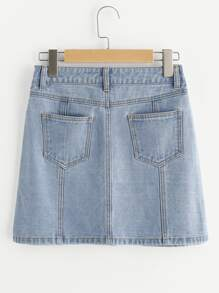 Button Up Paneled Denim Skirt pictures
