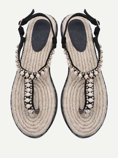 Rhinestone And Faux Pearl Design Toe Post Sandals