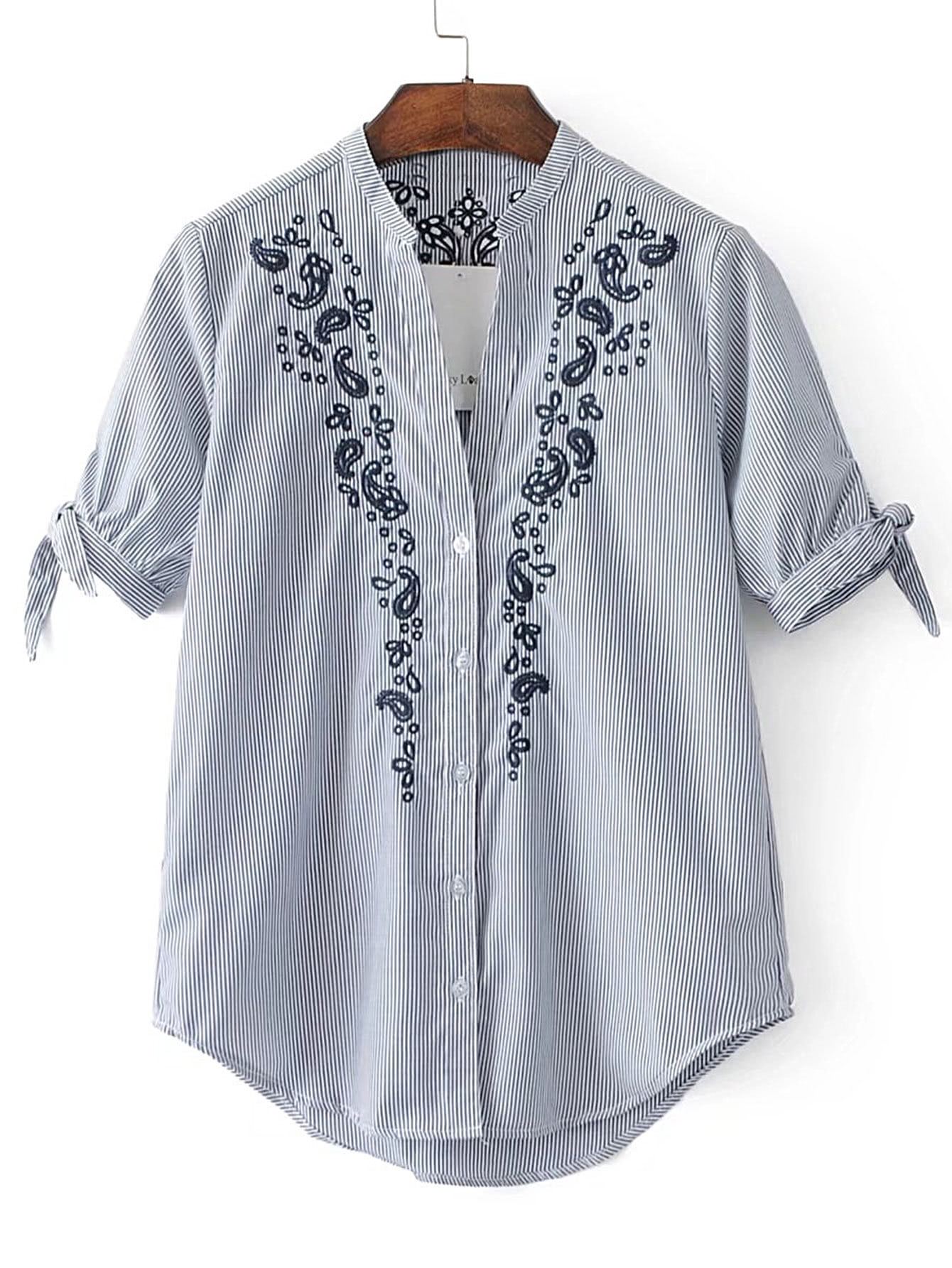 Фото Pinstripe Flower Embroidery Tie Cuff Blouse. Купить с доставкой