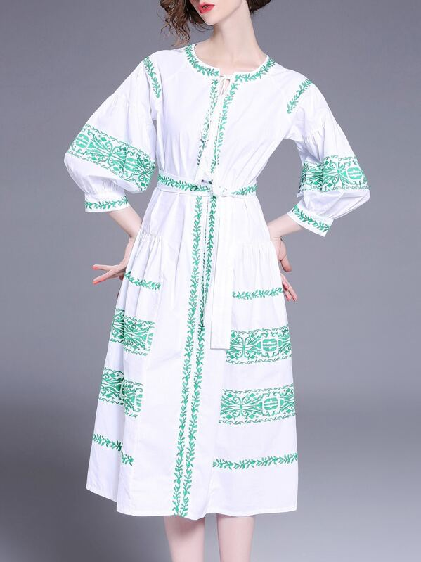 Tie Neck Tribal Embroidered Dress, null