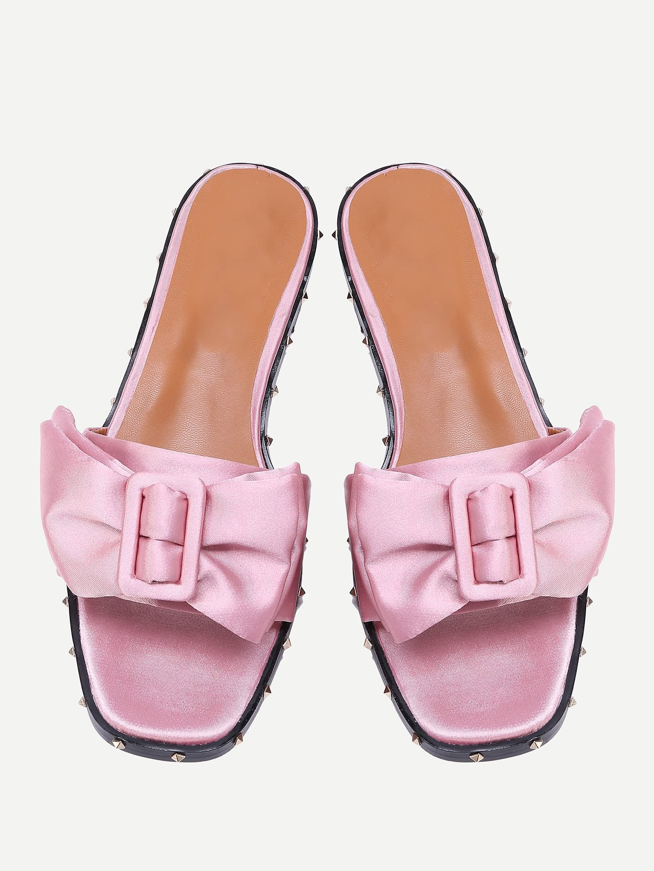 Фото Studded Detail Satin Sandals With Bow Tie. Купить с доставкой