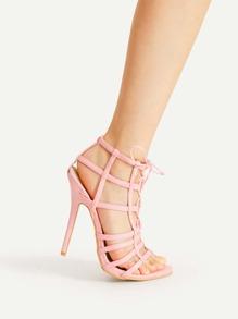 Sandales à talons en forme de cage