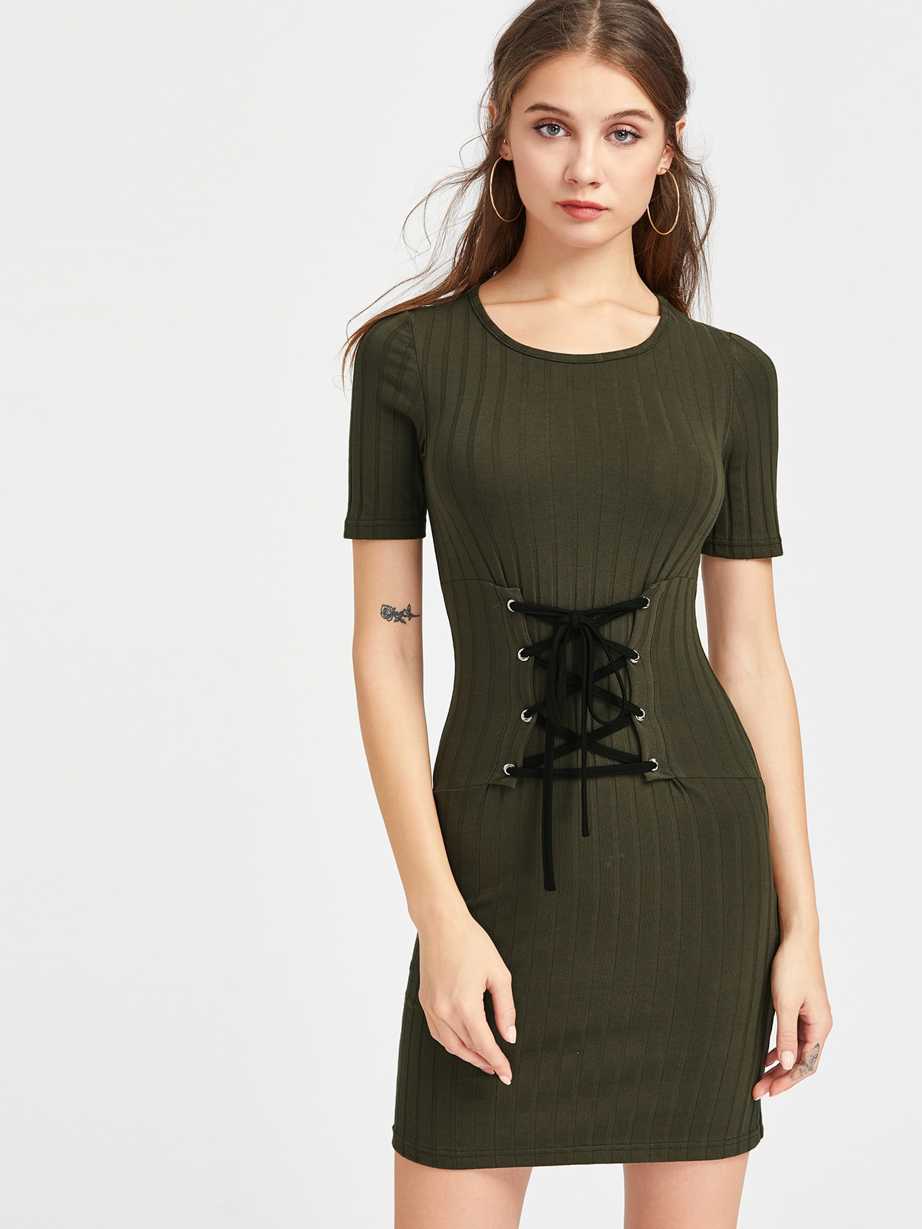 Rib Knit Lace Up Corset Belt Bodycon Dress pilot l 7м белый