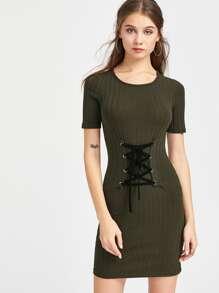 Rib Knit Lace Up Corset Belt Bodycon Dress SHEIN