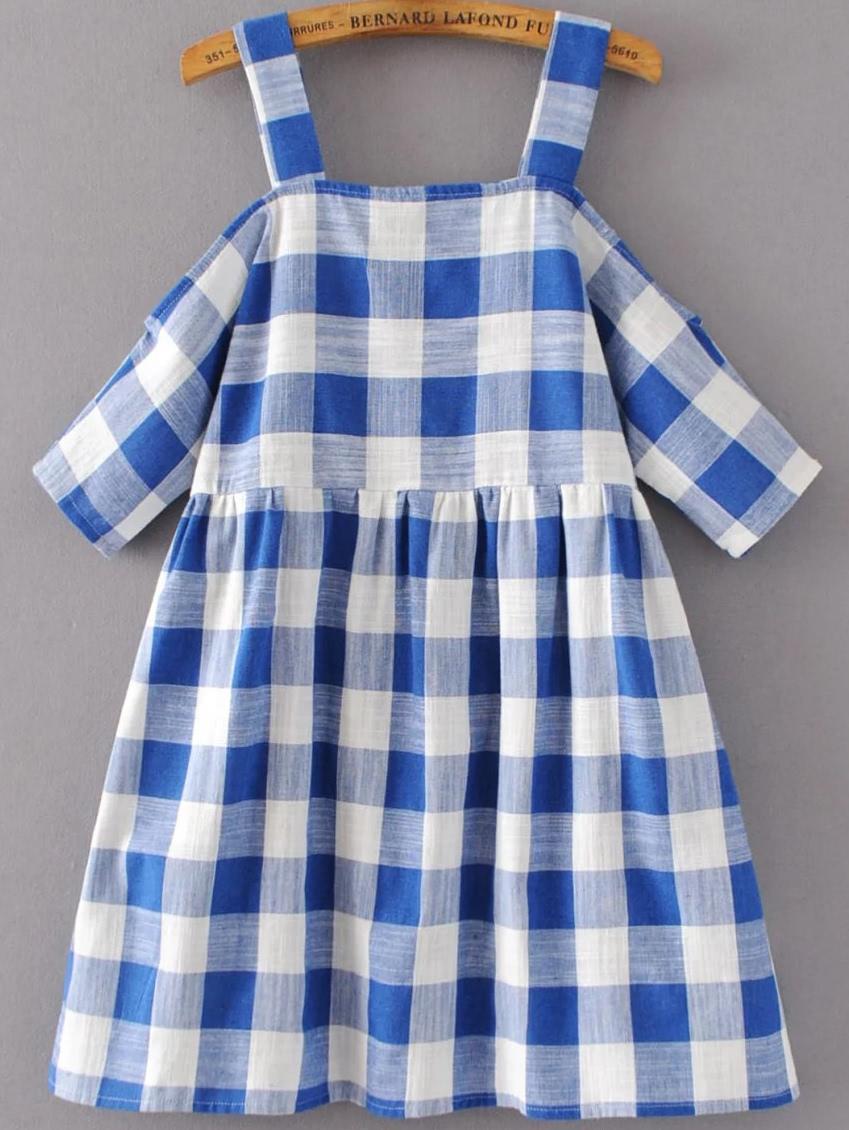 Фото Cold Shoulder Sleeve Gingham Cute Dress. Купить с доставкой