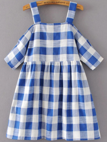 Cold Shoulder Sleeve Gingham Cute Dress