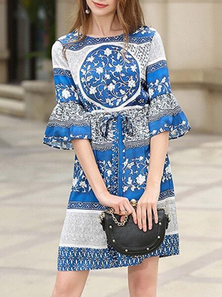 Фото Bell Sleeve Drawstring Tribal Print Dress. Купить с доставкой