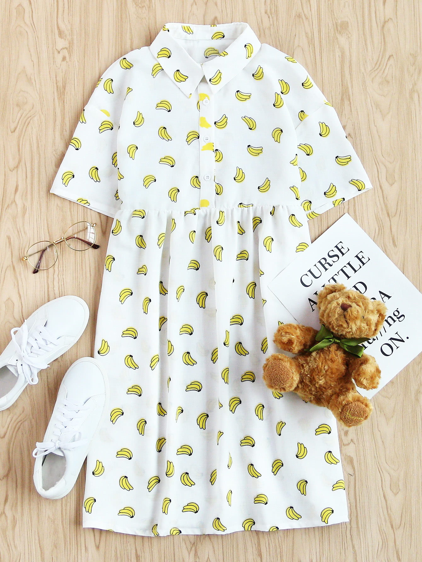 Фото Allover Banana Print Half Placket Babydoll Dress. Купить с доставкой