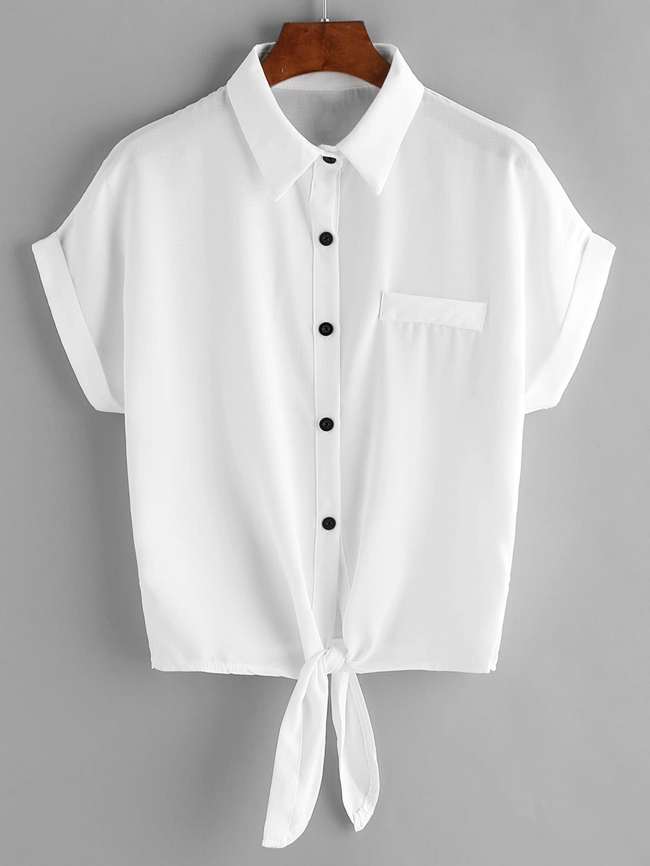 Фото Tie Front Cuffed Chiffon Blouse With Chest Pocket. Купить с доставкой