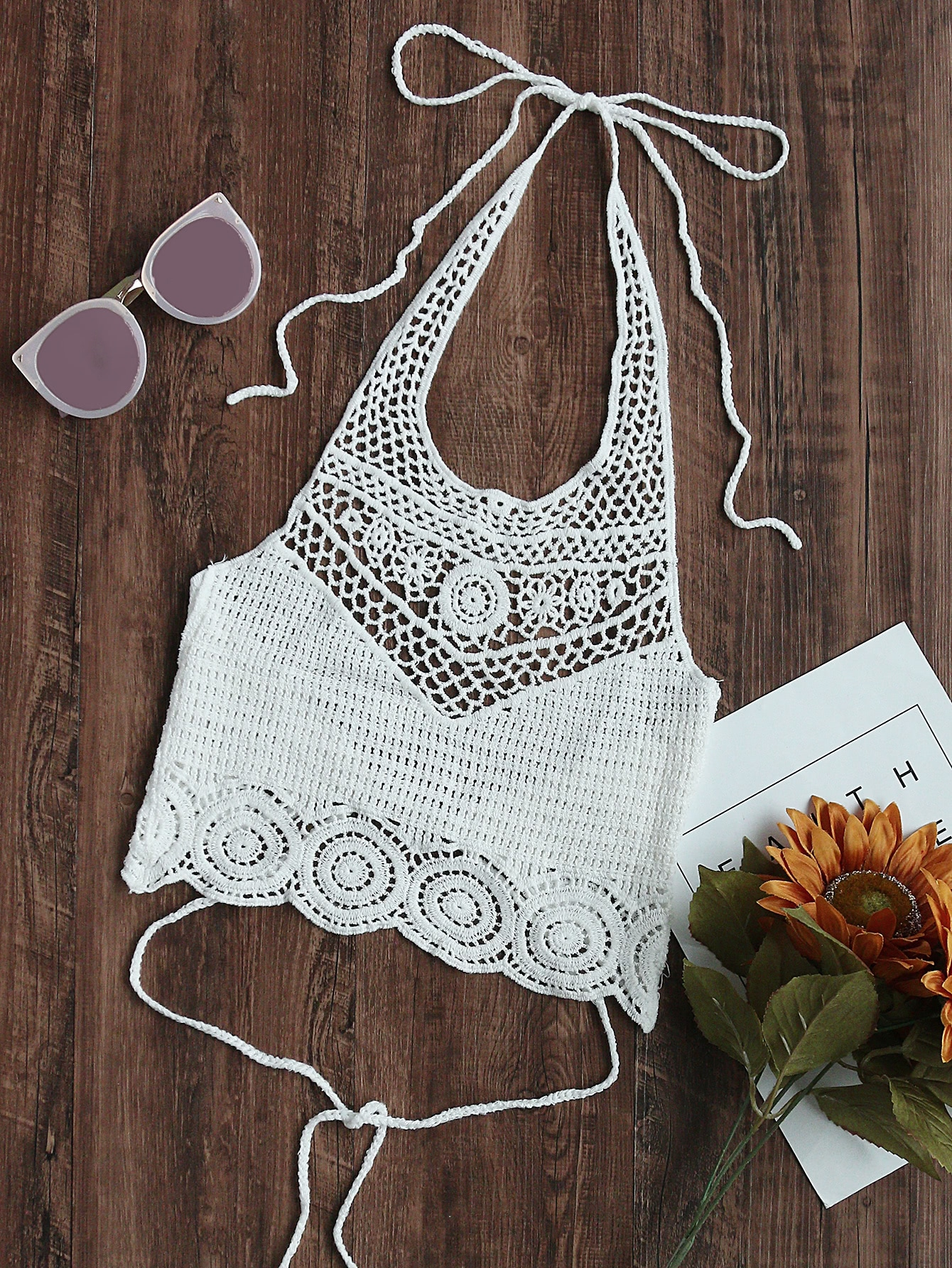 Hollow Out Crochet Tie Detail Crop Halter Top chic halter butterfly pattern hollow out