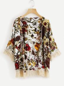Kimono con espiga contraste de encaje con estampado floral