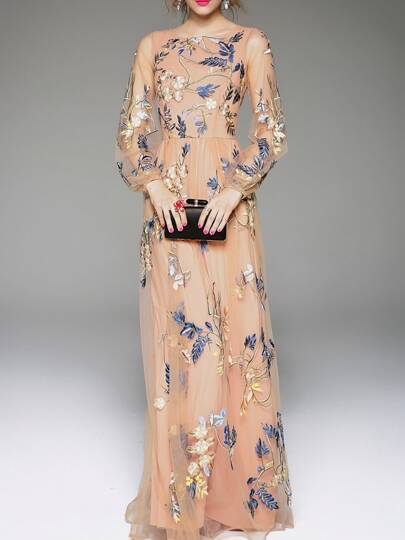 Apricot Gauze Flowers Embroidered Maxi Dress