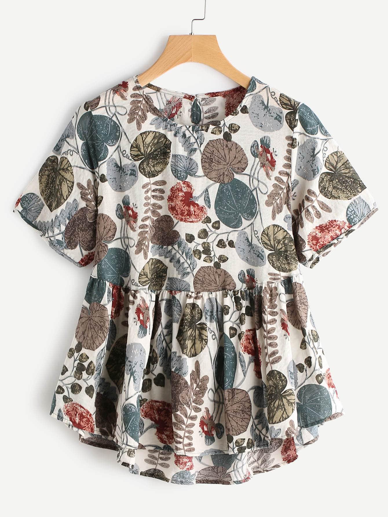 Palm Leaf Keyhole Back Dip Hem Smock Blouse zipper back dip hem peplum blouse