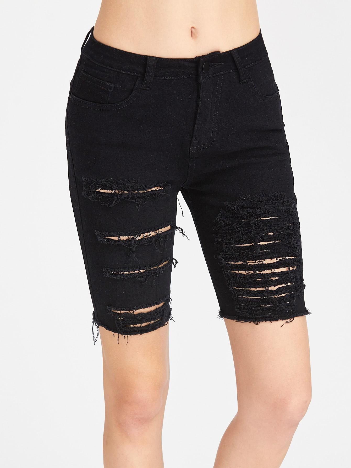 Thigh Length Ripped Skinny Denim Shorts -SheIn(Sheinside)