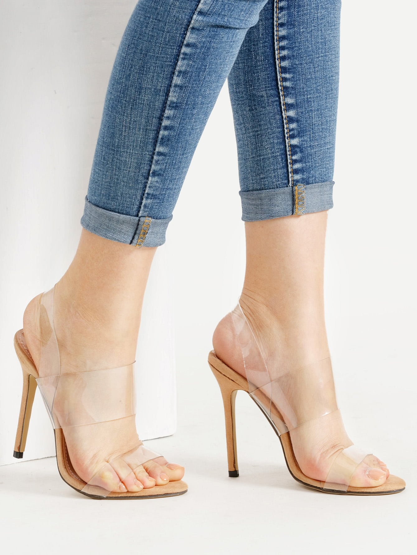 Image of Clear Strap Stiletto Sandals