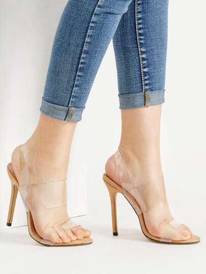 Clear Strap Stiletto Sandals