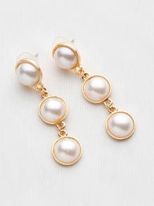 Metal Trim Faux Pearl Drop Earrings