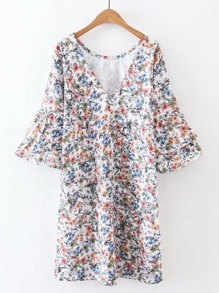 Layered Ruffle Sleeve Floral Dress