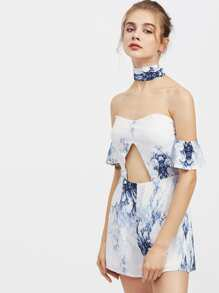 Sweetheart Tie Front Chiffon Playsuit