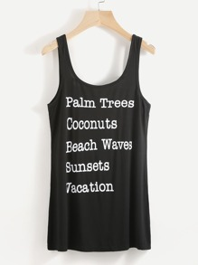 Slogan Print Open Back Tank Top