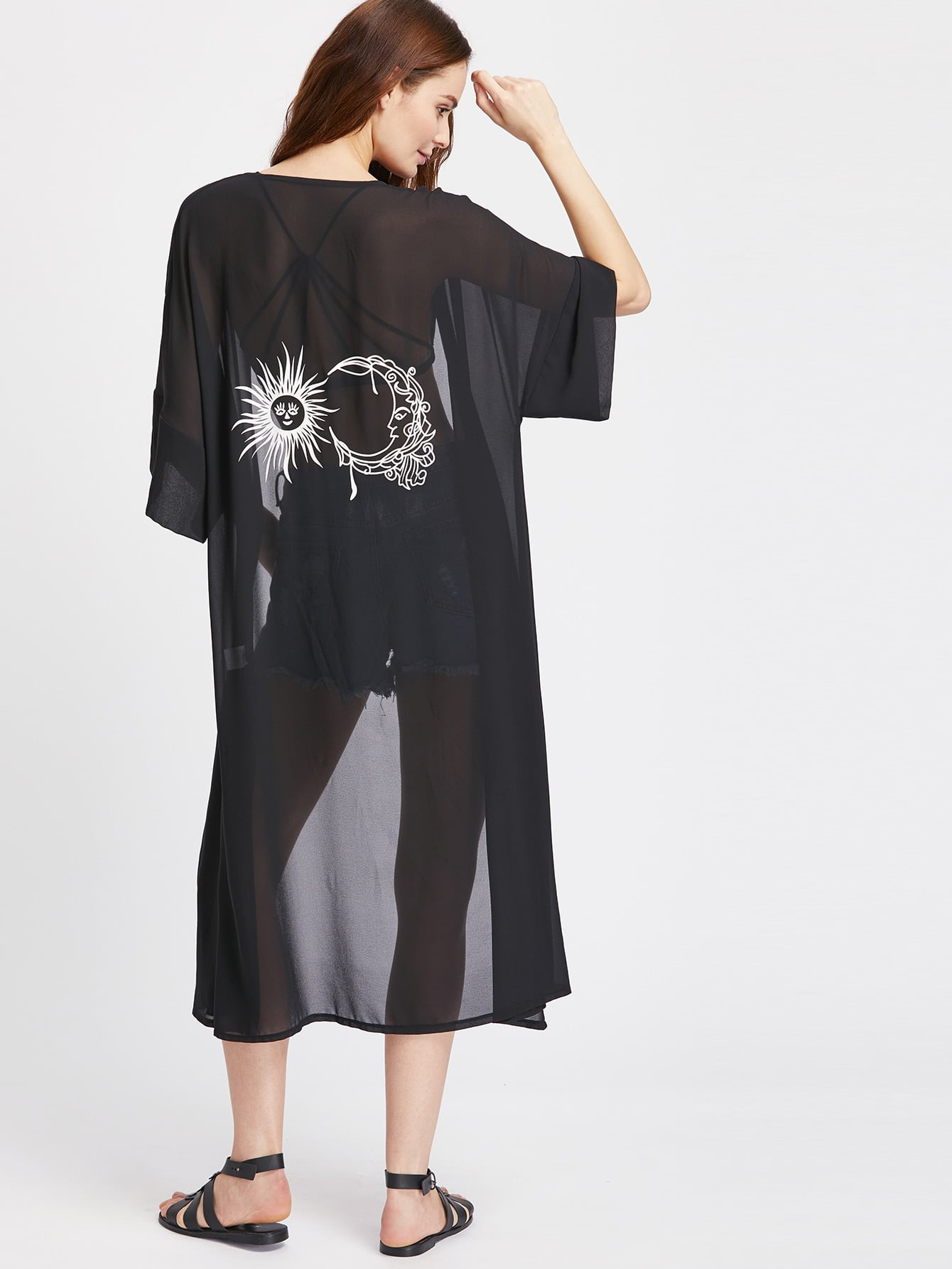 Фото Graphic Print Back Side Slit Semi Sheer Kimono. Купить с доставкой
