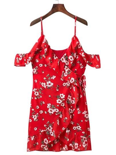 Open Shoulder Frill Trim Wrap Dress
