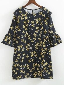 Bell Sleeve Floral Keyhole Back Dress