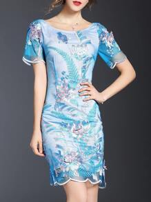 Blue Gauze Embroidered Applique Sheath Dress