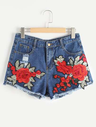 Rose Appliques Ripped Frayed Hem Denim Shorts