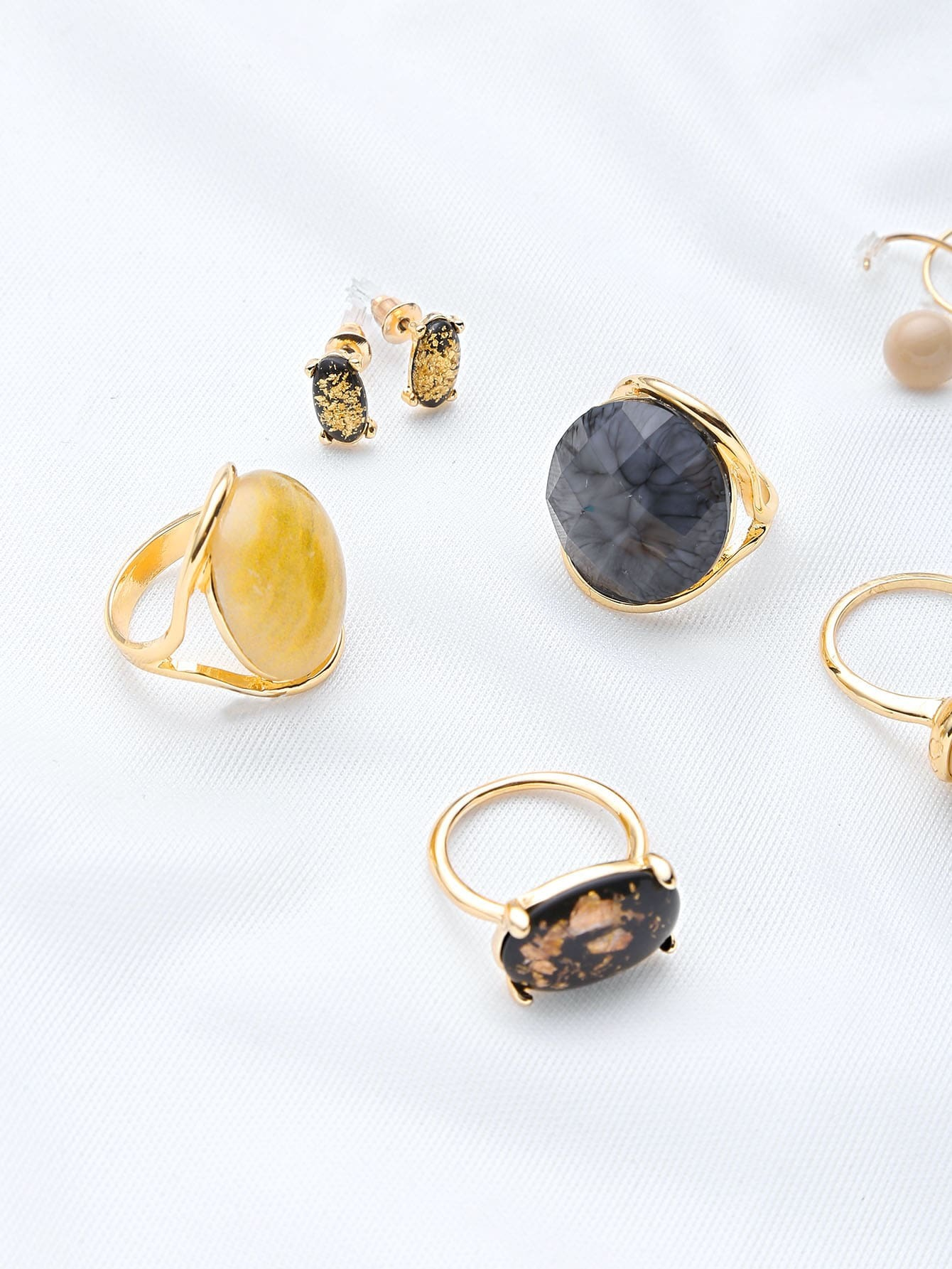 faux gemstone jewelry pack shein sheinside