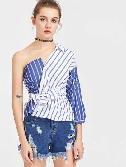 Color Block Self Tie Waist Striped Blouse