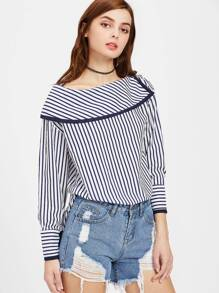 Fold Over Neckline Pinstripe Top