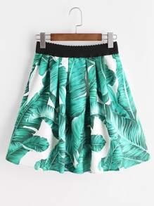 Feuille d'impression jupe avec taille élastique - Vert