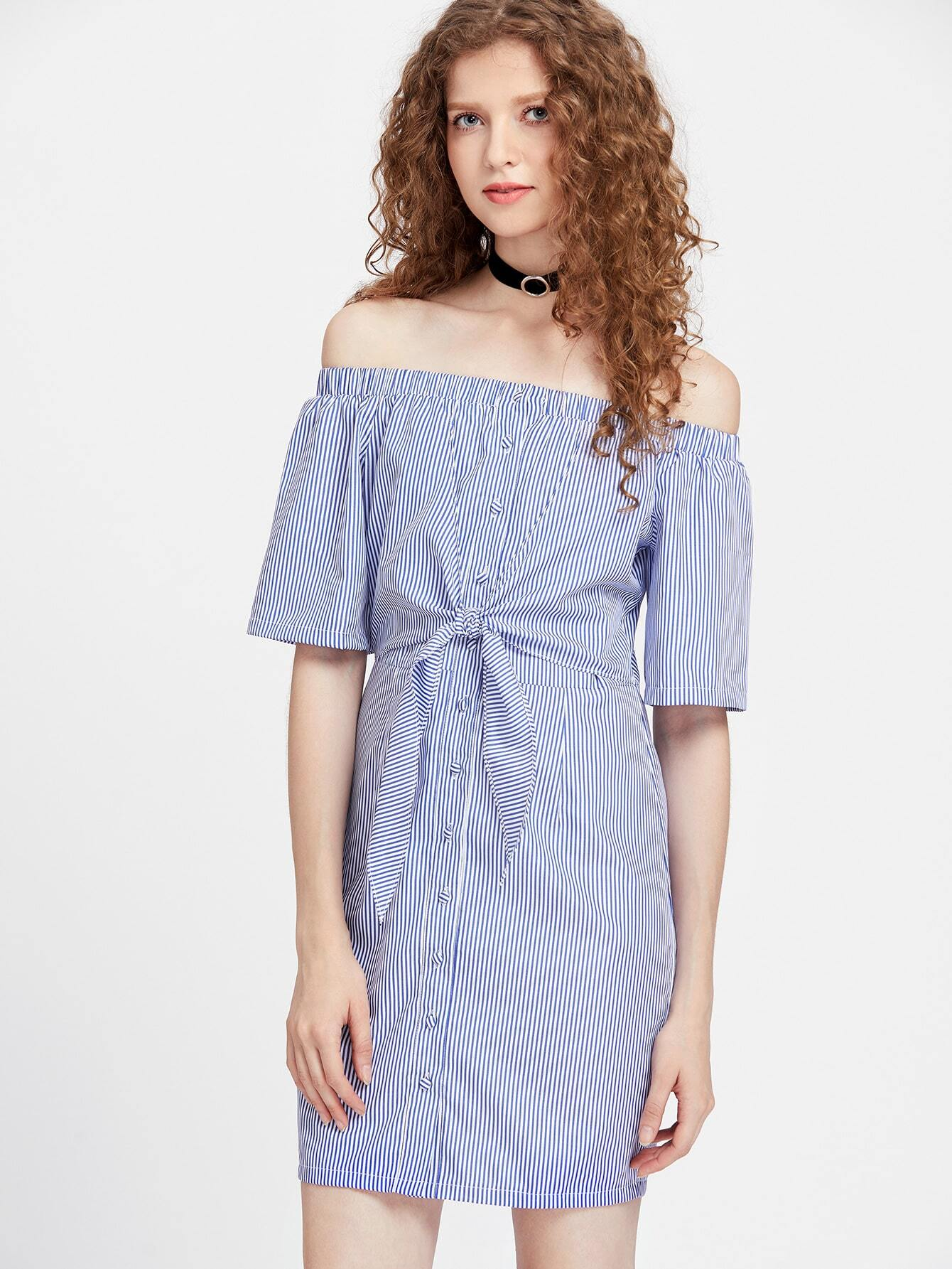 Bardot pinstripe knot front button dress shein sheinside for The knot lookbook wedding dresses
