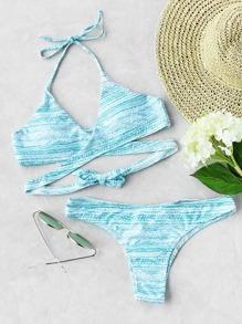 Mixed Print Wrap Bikini Set