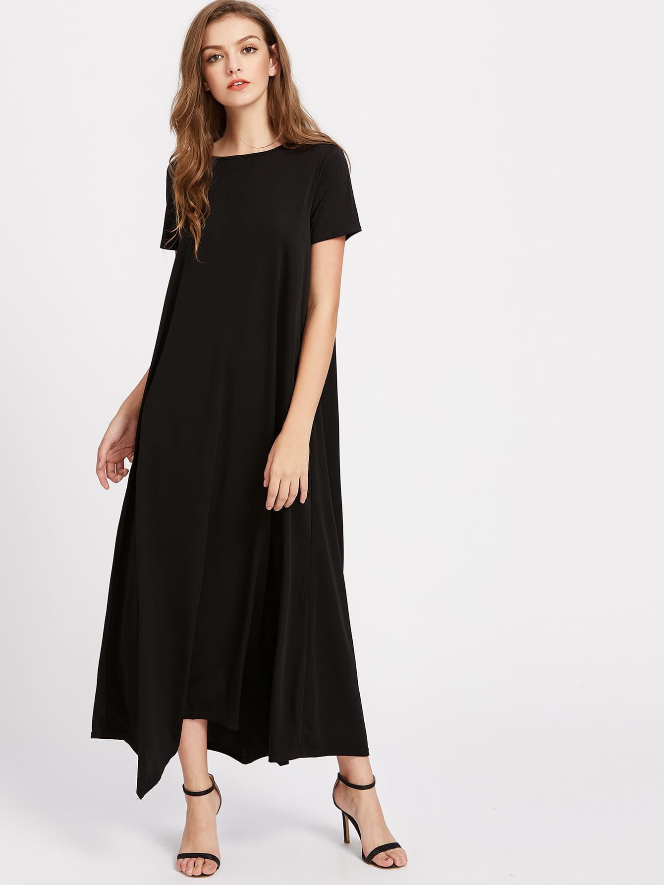 Hanky Hem Tent Dress With Hidden Pocket high slit hanky hem metallic halter dress