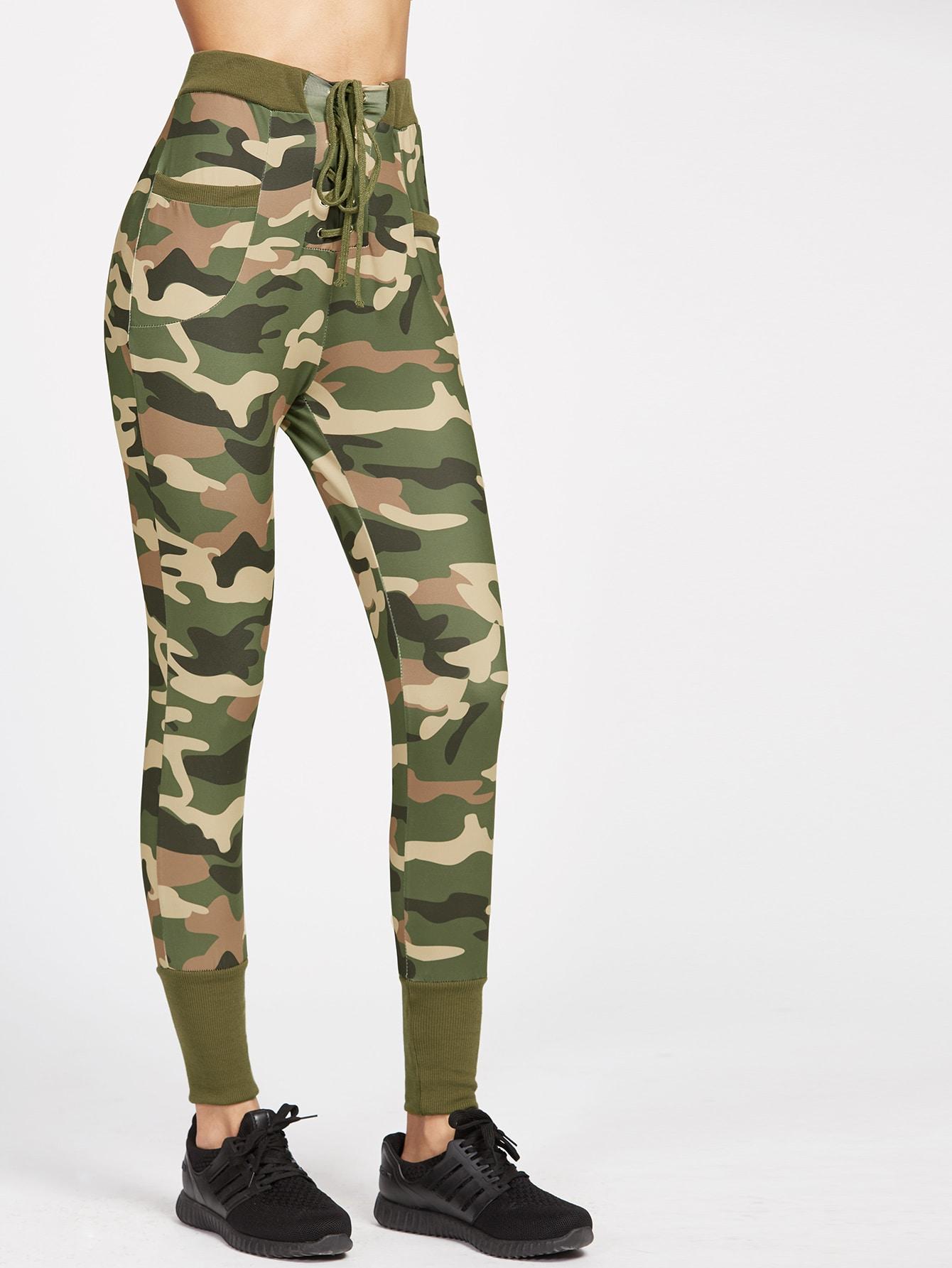Camo Print Ribbed Trim Lace Up Skinny Pants pants170405301