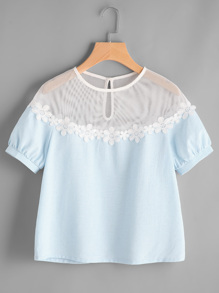 Illusion Neck Daisy Lace Trim Puff Sleeve Top