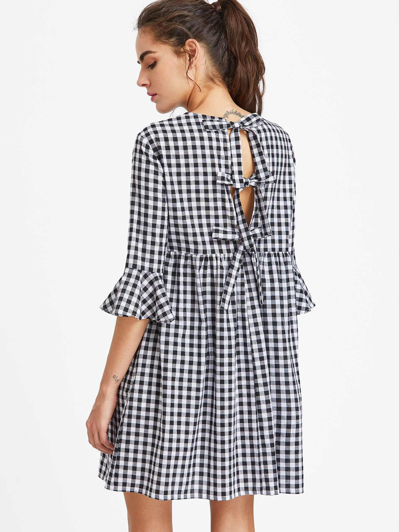 Bow Tie Open Back Fluted Sleeve High Waist Gingham Dress buy it diretly 5pcs lot rtd2482rd rtd2482d rtd2482 2482 qfp128 best quality90 days warranty