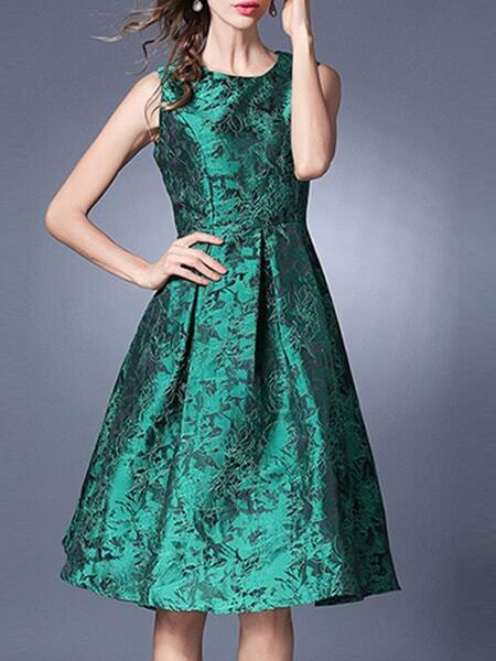 Фото Green Crew Neck Jacquard A-Line Dress. Купить с доставкой