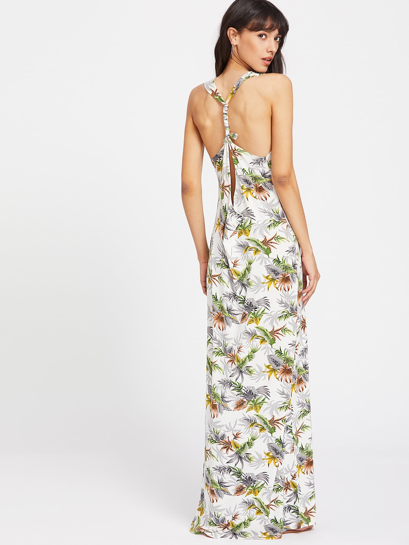 Фото Split Twist Racerback Foliage Dress. Купить с доставкой