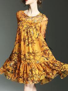 Vestido fruncido con estampado de pájaros de manga campanuda