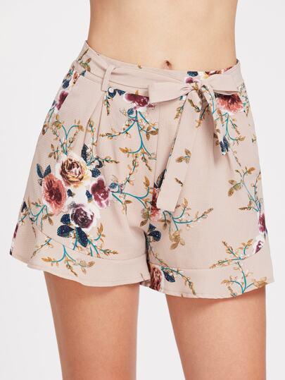 Tie Waist Botanical Print Shorts