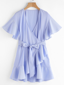 Frill Detail Surplice Wrap Striped Dress