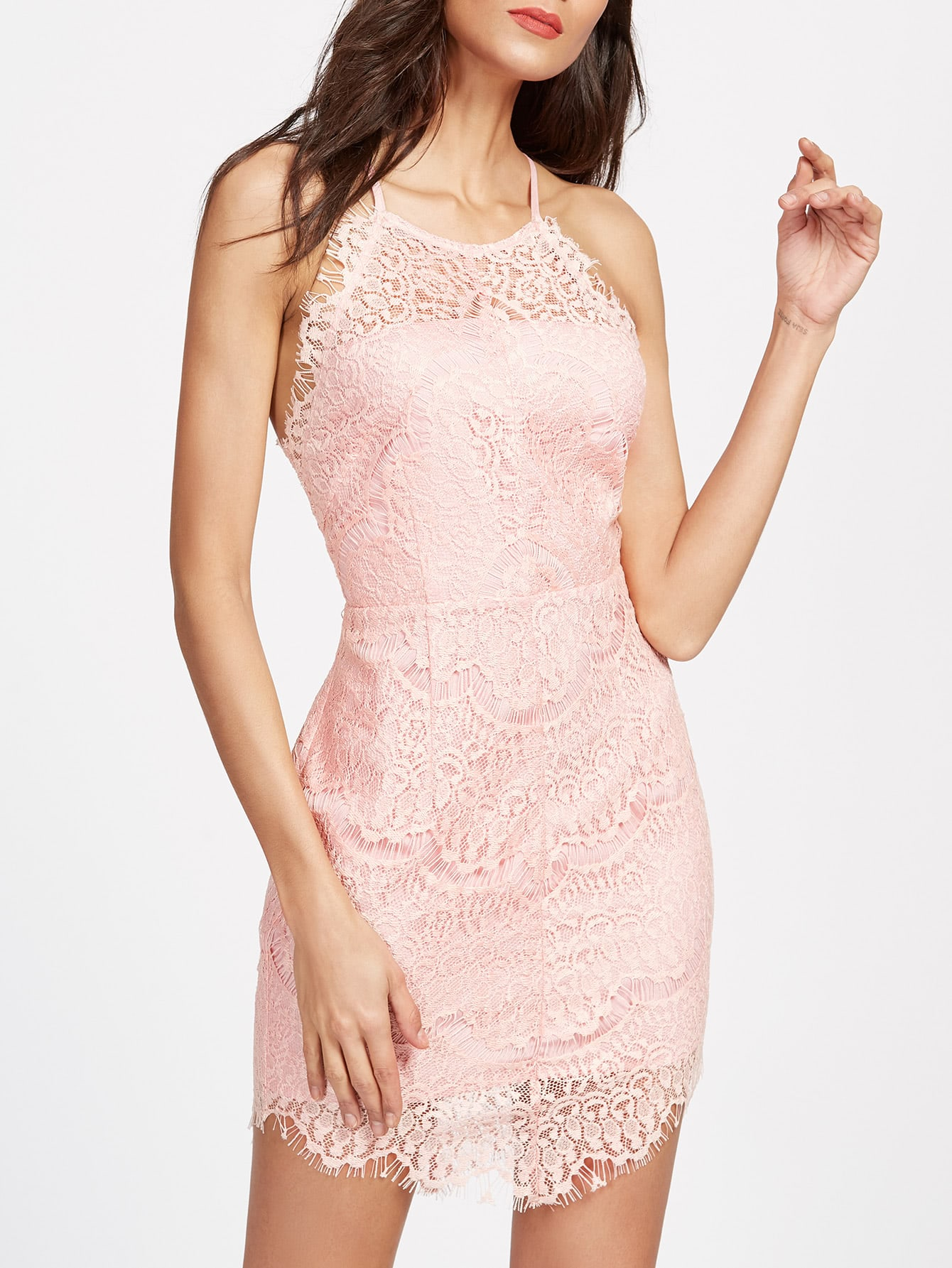 Button Back Floral Lace Overlay Cami Dress dress170313711
