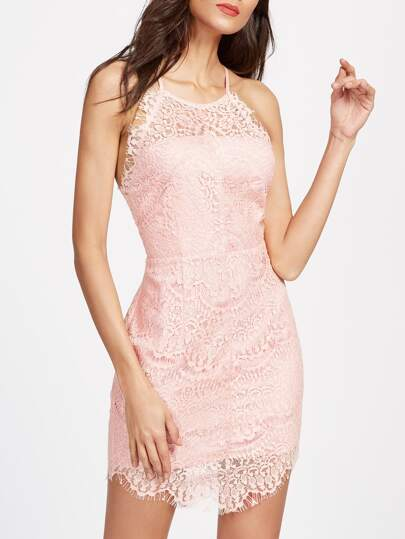 Button Back Floral Lace Overlay Cami Dress
