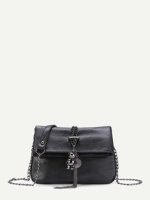 Bear And Tassel Detail PU Foldover Bag