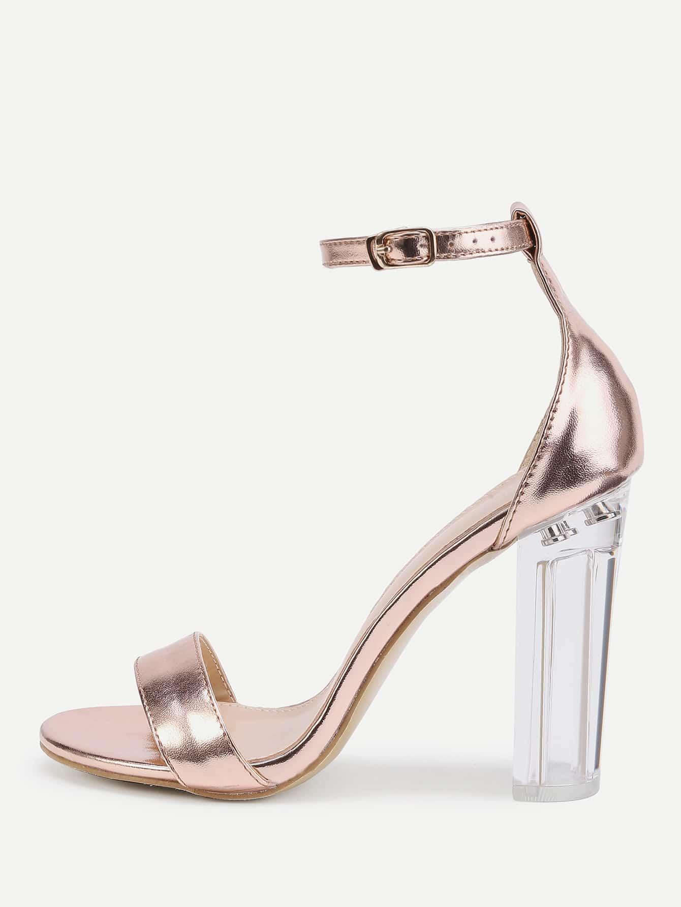 Rose Gold Lucite Heel Sandals shoes170404810