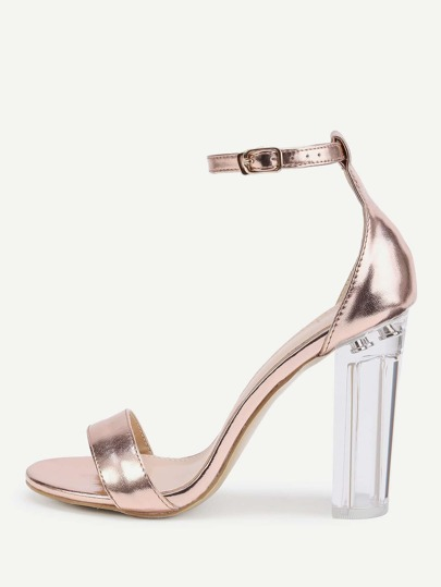 Rose Gold Lucite Heel Sandals