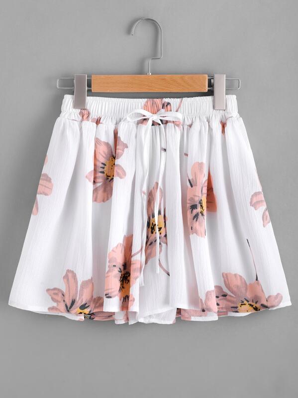 Floral Print Drawstring Skirt Shorts, null
